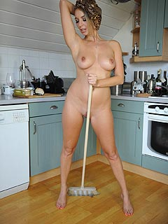 It is getting too hot to do the cleaning all clothed. Housewife Hayley Marie Coppin is stripping down all sexy and sweaty