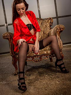 Red silk robe is perfect for flashing when erotic model wants to give you a memorable impression of her lingerie