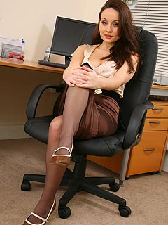 Young secretary is in the mood of showing what is under her skirt... would you like to take a look?
