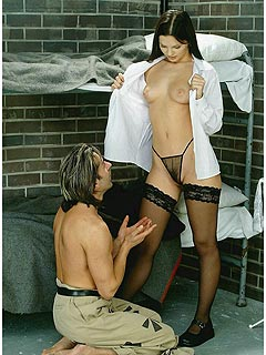 Sexy lawer comes ot prison to talk to her client: ends up nude, in black stockings and fucked on the cell floor