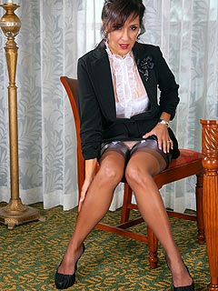 Business meeting is ending up with elegant lady stripping down for you to her lingerie and nylons