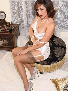 Every woman looks sexy and elegant when wearing vintage-style lingerie, suspender and a apir of fully-fashioned stockings