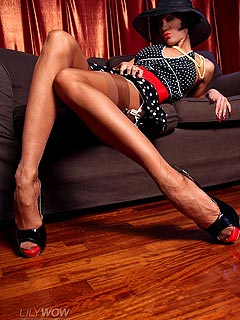 Mistress wants you to crawl on all fours at her feet worshiping high heel shoes and nylon stockings