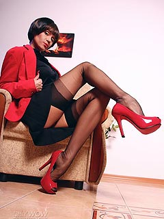 Slut is moving her legs making sure the up-skirts are exposing her crotch and shaved pussy