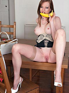 There is a lot of kinky things naughty MILF in stockings can do with banana when stripping down like a total slut