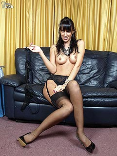 Secretary ends up busoness meeting dressed up in black nylons stockings only