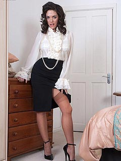 There is something lady-boss wants to show you: a pair of legs in high heels and nylons