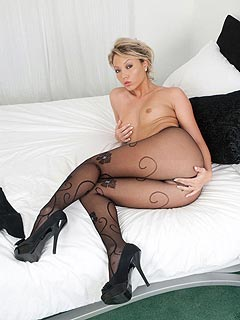 Asian babe developed her own stype of seducing men by laying with her legs spread and ripping pantyhose