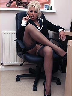 Employee comes to bitchy boss office and she gives him a footjob both: in and without stockings
