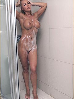 There is a wet blond alone in the shower - wants you to join and make her soapy