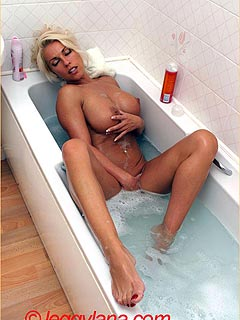 Barefoot housewife is up for a hot bathtub and getting all soapy