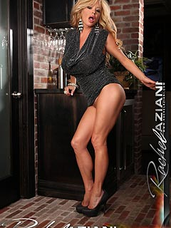 Mini dress, high heels and no panties underneath is the way Rachel Aziani goes to the bar to find lovers to fuck with