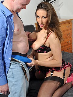 Chubby MILF is wearing black lingerie and is hungry for the cock and a taste if hot cum in her mouth