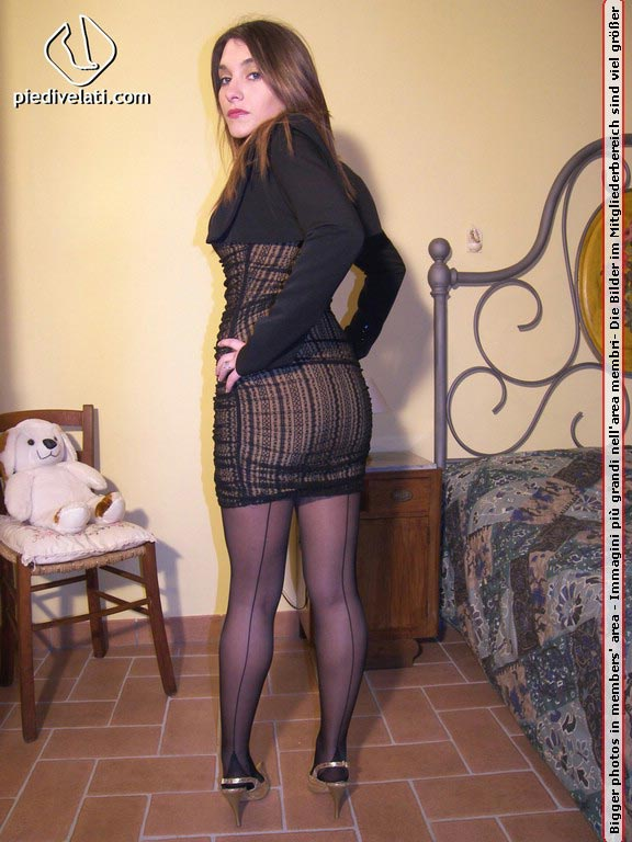 Women in black seamed stockings - horny amateurs