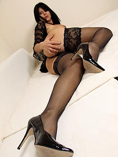 POV photo session where we are enjoying hot legs, stockings and heels in close-up