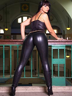Extremely tight rubber pants is what makes female ass and legs look sexier than ever before